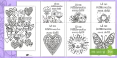 Mother's Day Mindfulness Colouring Pages Gaeilge