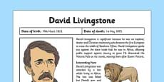 Scottish Significant Individuals David Livingstone Fact Sheet