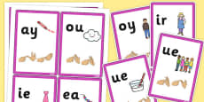 Phase 5 Final Sound Flash Cards with British Sign Language