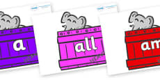 Foundation Stage 2 Keywords on Elephants (Crates) to Support Teaching on Dear Zoo
