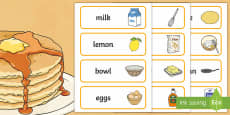 Pancake Day Recipe Word Cards
