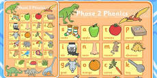 Dinosaur Themed Phase 2 Phonics Large A2 Poster