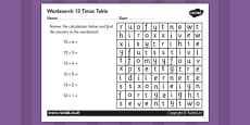 Multiplication 12 Times Tables Wordsearch Activity Sheet