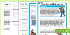 What Does An Electrician Do? Differentiated Reading Comprehension Activity