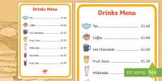 Pancake Cafe Drinks Role Play Menu
