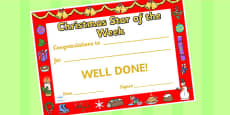 Star of the Week Christmas Themed Certificate