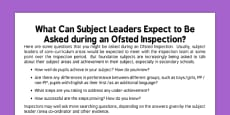 Questions for Subject Leaders Ofsted