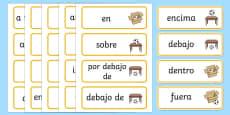 Tarjetas de vocabulario Preposiciones de lugar