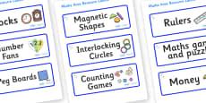 Unicorn Themed Editable Maths Area Resource Labels