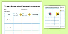 Weekly Home School Communication Sheet Secondary
