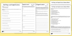 Capital Letters and Full Stops with Phase 5 Words Activity Sheet