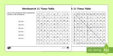 Multiplication 11 Times Tables Wordsearch Activity Sheet