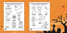 Halloween Words Colouring Activity Sheet Romanian Translation