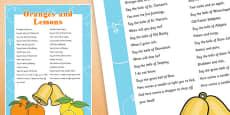Oranges and Lemons Nursery Rhyme Poster
