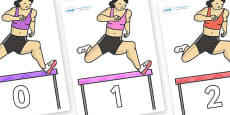 Numbers 0-100 on Olympic Hurdles