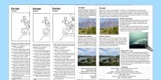 Europe Natural Features Comprehension Activity Sheets English/Polish