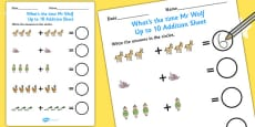 Up to 10 Addition Sheet to Support Teaching on What's The Time, Mr Wolf?