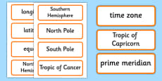 Lines of Latitude and Longitude Word Cards