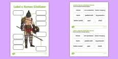 Roman Gladiator Clothing Labelling Activity Sheet