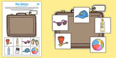 Sun Safety Cut and Paste Activity Arabic Translation