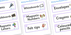Lilac Themed Editable Writing Area Resource Labels