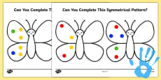 Complete a Symmetrical Butterfly Pattern Fingerprint Activity Sheet