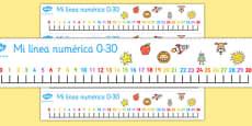 Spanish Number Line 0-30