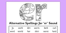 Alternative Spelling For er Sound Activity Sheet
