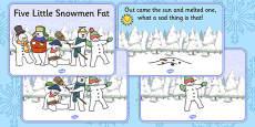 Five Little Snowmen Fat Nursery Rhyme posters