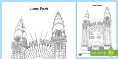 Luna Park Colouring Page