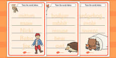 The Mitten Trace the Words Activity Sheets