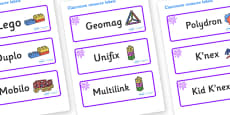 Purple Themed Editable Construction Area Resource Labels