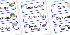 Blue Themed Editable Classroom Resource Labels