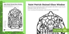 Saint Patrick Stained Glass Window Colour by Number