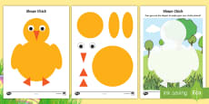 * NEW * Chick 2D Shape Activity Sheets
