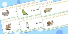 Combined Alphabet and Number Strips (Pets)