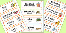 Healthy Eating Cafe Role Play Word Cards Romanian Translation