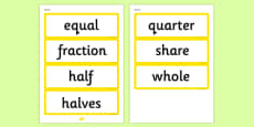Year 1 2014 Curriculum Fractions Vocabulary Cards