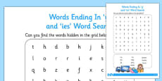 Words Ending in y and ies Word Search