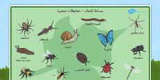 Minibeast Word Mat Arabic