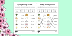 Spring Missing Sounds Worksheet
