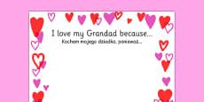 I Love My Grandad Because Page Borders Polish Translation