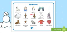 Winter Word Mat Spanish