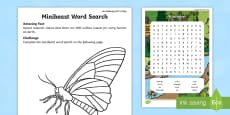 Minibeast Word Search