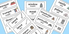 Medieval Castle Role Play Word Cards Romanian Translation