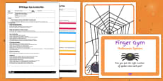 EYFS Halloween Spiders Finger Gym Activity Plan and Prompt Card Pack