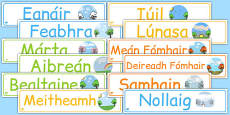 Months of the Year Display Banner Pack Gaeilge