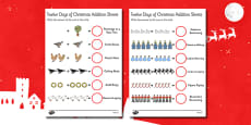 Twelve Days of Christmas Themed Addition Activity Sheets
