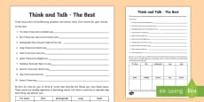 Think and Talk The Best Activity Sheet