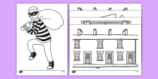 Burglar Colouring Sheets